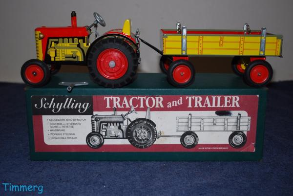 Tractor Trailer Keys : Schylling vintage tractor and trailer wind up tin toy w