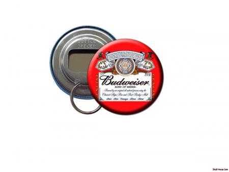 budweiser beer label bottle opener keychain ebay. Black Bedroom Furniture Sets. Home Design Ideas