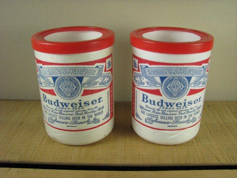 Styrofoam Beer Can Cooler ~ Vintage budweiser beer styrofoam foam can cooler koozie