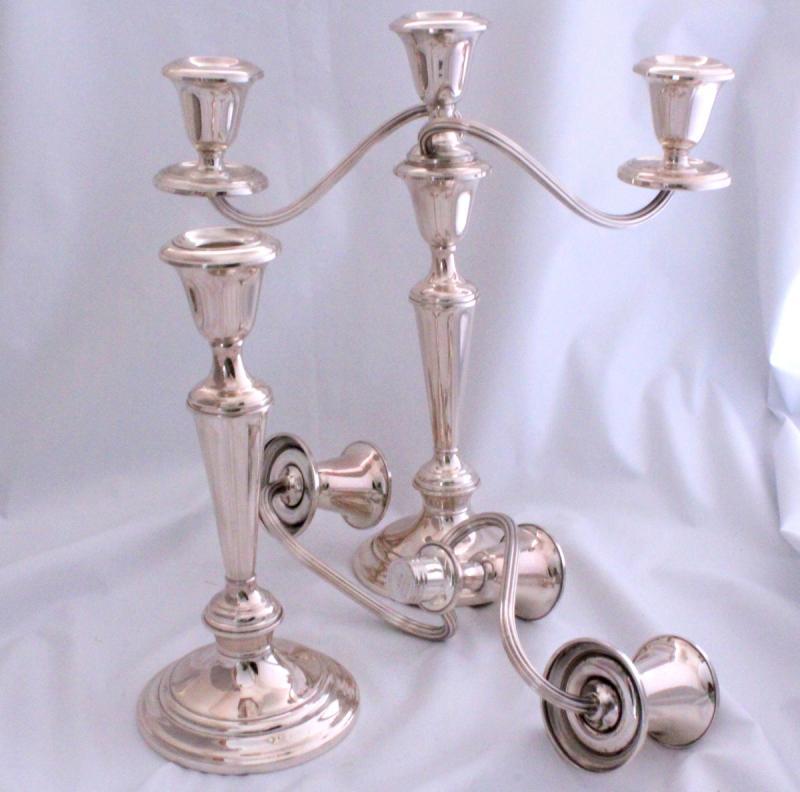 Gorham Sterling Silver Candelabra Candlesticks Pair 11 1 2