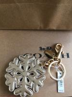 NWT Coach Stardust Studs Snowflake Key Chain Fob Bag Charm Gold Leather F23452