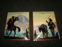 Vintage Reverse Painted Silhouette Indian Cowboy Horse Mountain