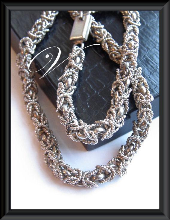HEAVY Taxco Mexico Sterling Silver 925 Byzantine Necklace Bracelet Set