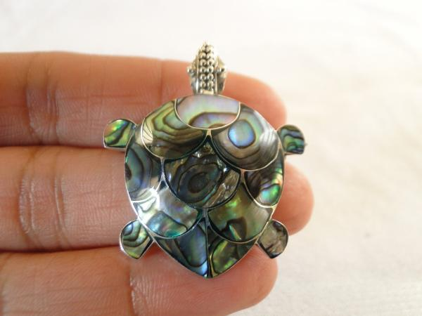 Paua abalone shell turtle tortoise 925 sterling silver pin for Real tortoise shell jewelry