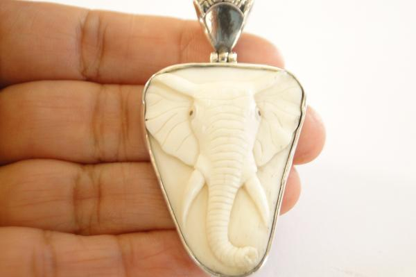 Hand Carved Elephant Face Charm 925 Sterling Silver