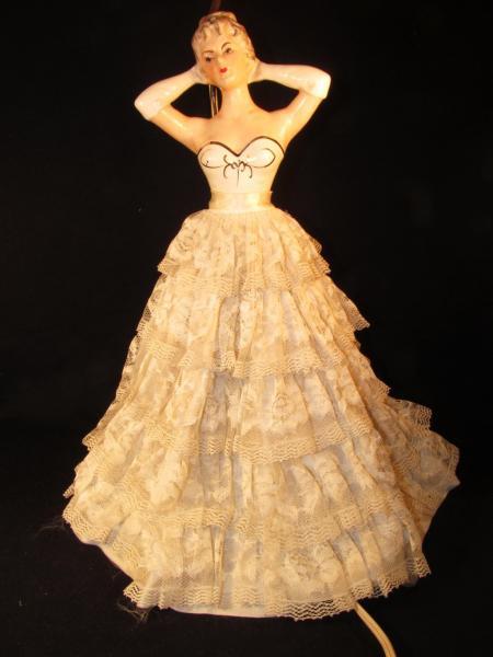 Vtg Retro Porcelain Half Doll Boudoir Table Lamp Lace