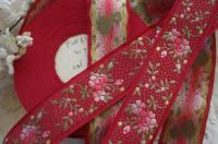 """1y VTG FRENCH 3//4/"""" OMBRE PINK BURGANDY FLORAL ROSES YELLOW JACQUARD RIBBON TRIM"""