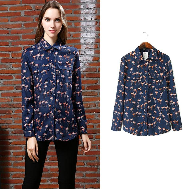9313b703535 New Womens Animal Flamingo Print Lapel Long Sleeve Blouse Tops Shirt ...