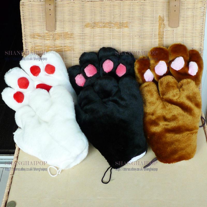 Pair Of Cat Gloves Kitty Fur Paw Claw Cosplay Women Lolita Fancy