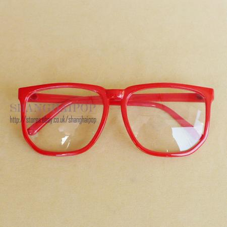 Red Clear Lens Nerd Glasses Women Men Large Frame Wayfarer ...