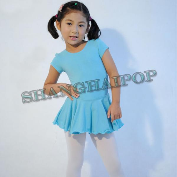 Kids Girls Ballet Costume Tutu Skirt Short Sleeve Gymnastics Leotard Dance Dress