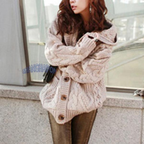 Women Hooded Cardigan Cable Knit Chunky Jumper Long Sleeve