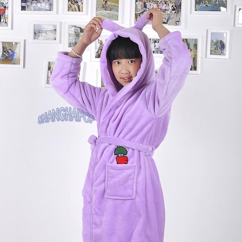 Children Kids Girl Fleece Bathrobe Hooded Ear Cute Robe Dressing Gown Housecoat