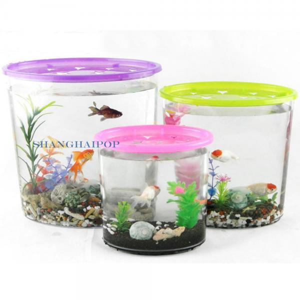Plastic round fish tank aquarium bowl fake coral plant for Large plastic fish bowl