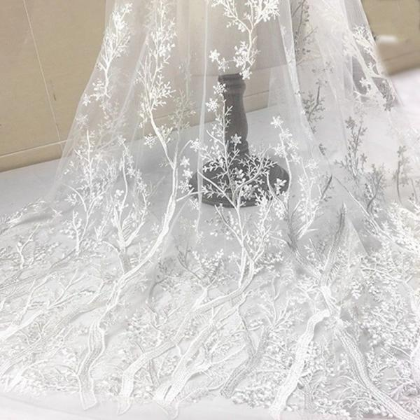 Bridal Lace Fabric 3D Beaded Lace Sequin Lace Tulle Lace,Wedding Dress Lace Fabric Floral Lace Fabric Sell By The Yard