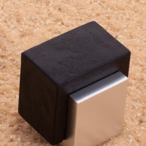 edelstahl eckig t rstopper puffer gummi glast r halter ebay. Black Bedroom Furniture Sets. Home Design Ideas