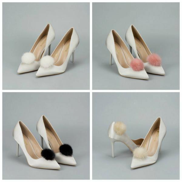 1 Paar Nerz Pelz Bommel Schuhe Clips flauschig Ornament Ferse Stiefel Anhänger