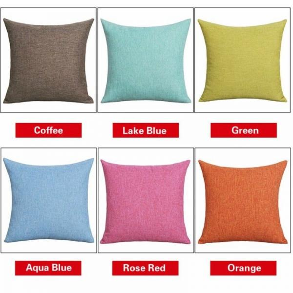 Linen Cushion Cover Flax Throw Pillow Case Sofa Car Home Decor Zip
