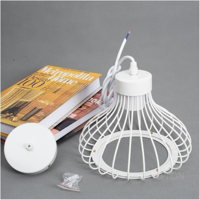 White Pendant Light Lamp Chandelier Wire Cage Hanging