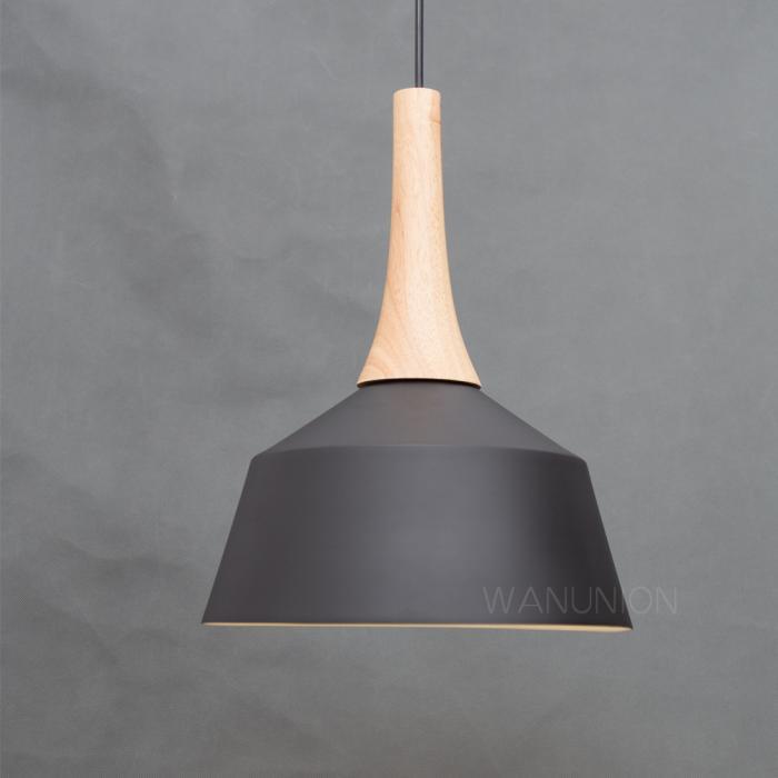 Black Pendant Light Modern Lamp Wooden Ceiling Lighting