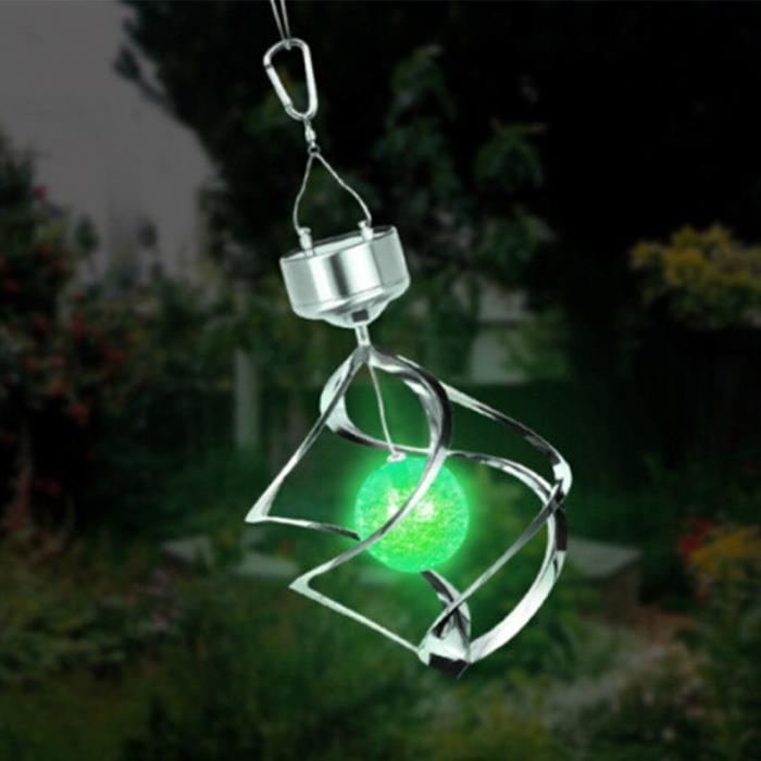 Solar powered color changing wind spinner led light garden for Solar garden decor