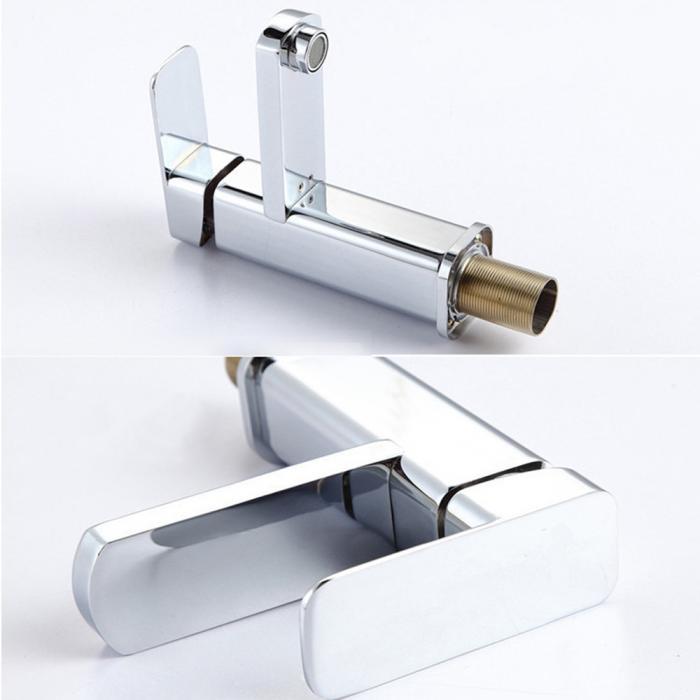 Chrome Square Two Hole Kitchen Bathroom Faucet Vessel Sink
