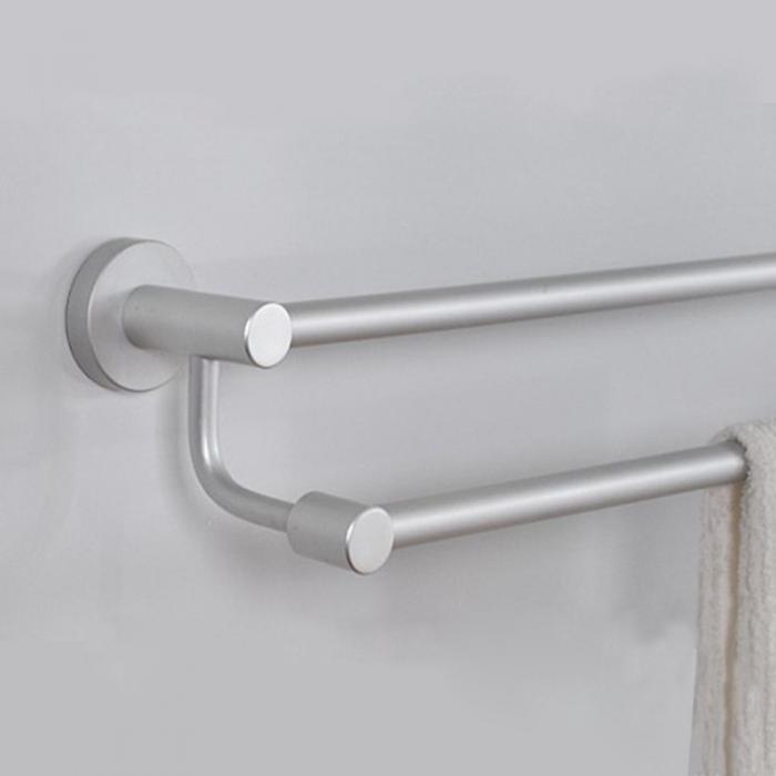 aluminum bathroom wall mounted double bar towel rail rack