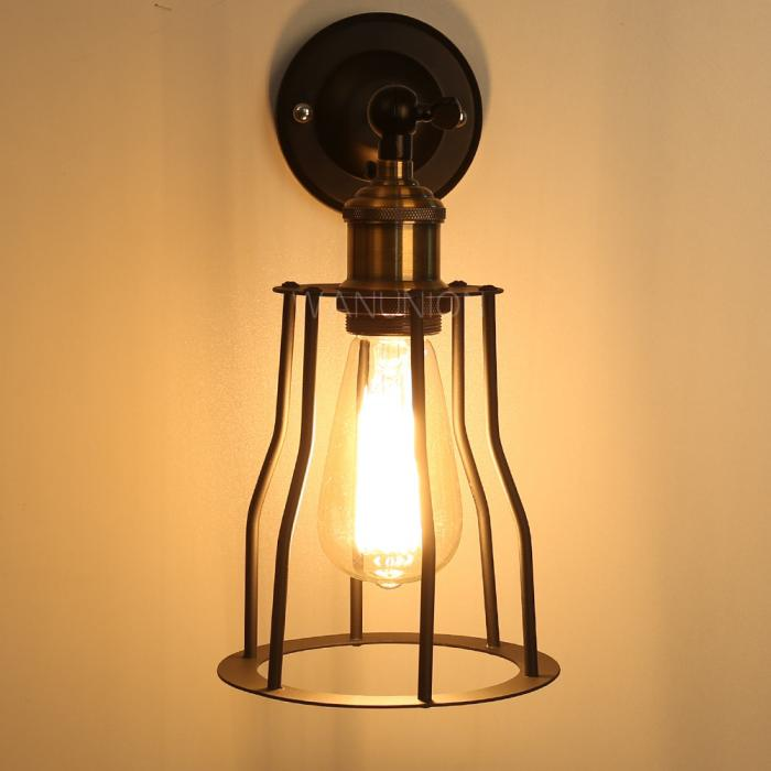Vintage industrial diy cage metal copper wall light sconce for Diy wall lighting