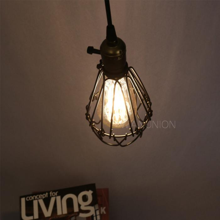 Hanging Lamp With Cord: Industrial Lighting Fixture Chandelier Ceiling Cage