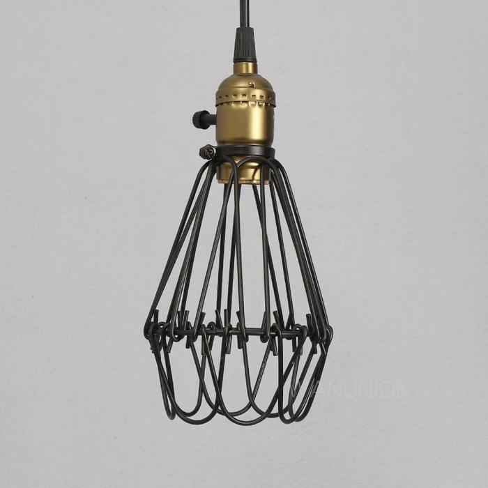 vintage pendant light chandelier wire guard cage hanging