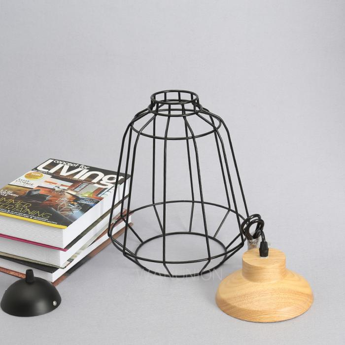Modern Vintage Minimal Wood Metal Cage Ceiling Hanging