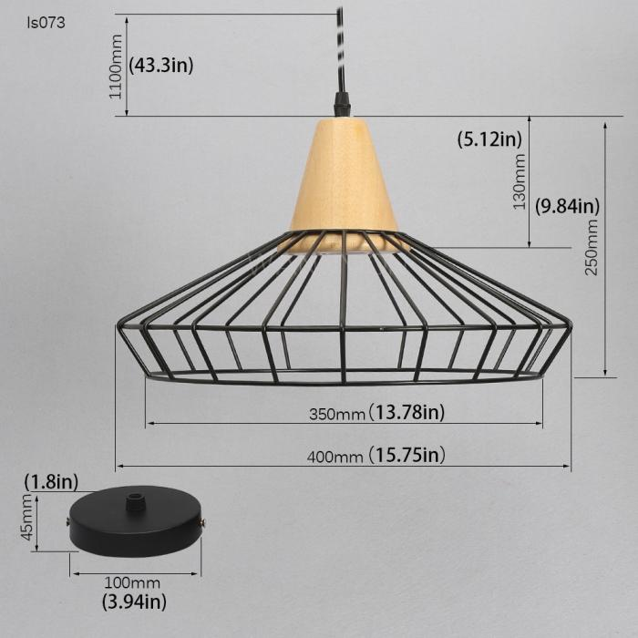 Vingate Industrial Cage Pendant Lighting Wooden Lights