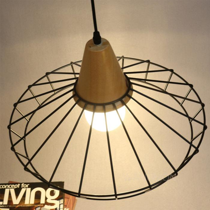 Vintage Industrial Minimal Wood Metal Cage Hanging Ceiling  : ls073a11 from www.ebay.co.uk size 700 x 700 jpeg 59kB