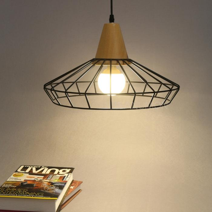 vingate industrial metal wood pendant cage lights ceiling chandelier lamp shade ebay. Black Bedroom Furniture Sets. Home Design Ideas
