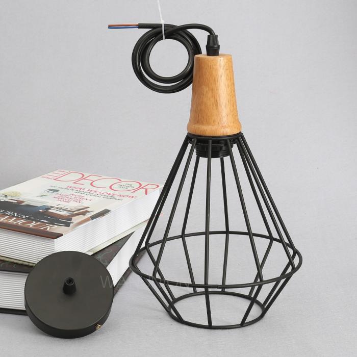 Wood Ceiling Lamp Industrial Iron Vintage Chandelier