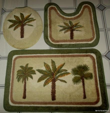 Palm tree bathroom rugs