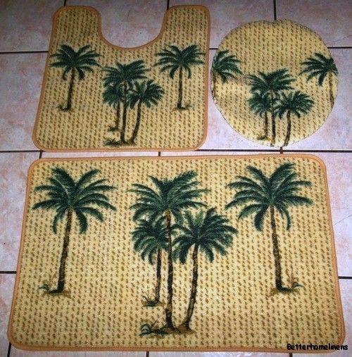 3pc tropical palm tree baroom rug set ba mat u shaped mat lid