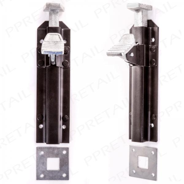2 X Quality Heavy Duty Black Foot Bolt Double Gate Staple