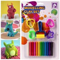 FULL COLOURED PLASTICINE KIT Modelling Soft Clay Doh Set Shape Cutters /& Roller