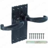 CAST IRON ANTIQUE STYLE BLACK MORTICE LEVER LATCH DOOR HANDLES VICTORIAN 7140NK