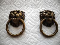 LIONS HEAD Antique BRASS Ring Drawer finger Cabinet Door Pulls Handles
