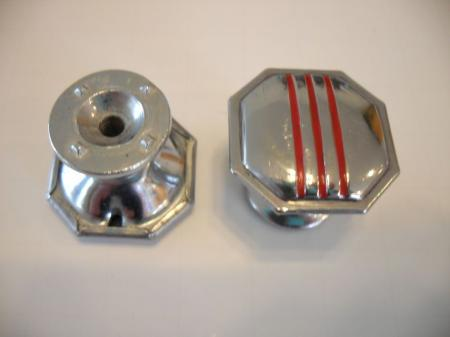 Vintage 1950 39 s chrome octagon knobs red lines drawer for 1950 door knobs