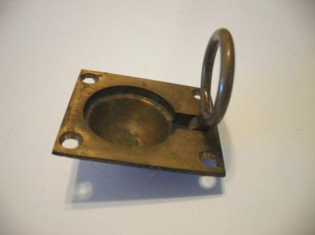 Vintage Solid Brass Ring Pull Window Seat Door Lid Flush