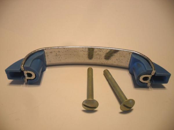 vtg nos chrome drawer pulls cabinet handle light blue. Black Bedroom Furniture Sets. Home Design Ideas