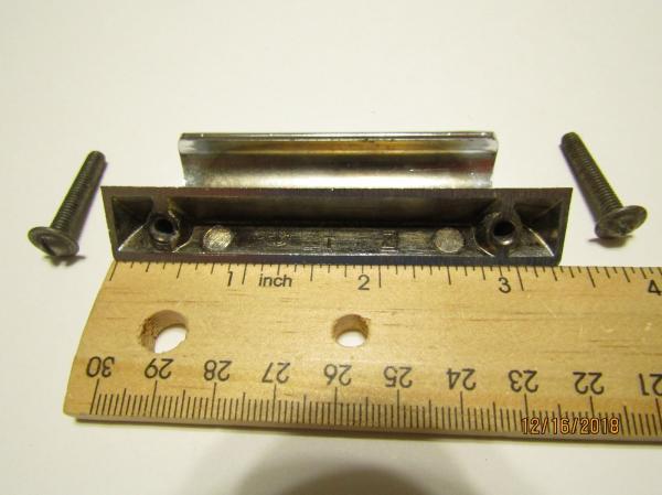 Vintage 50s Nos Chrome Drawer Pull Bin Finger Style