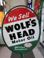 Mint 1955 N O S Wolfs Head Motor Oil Double Sided Lollipop Sign With Stand Ebay