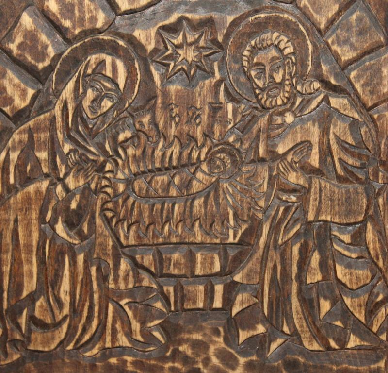 Vintage Christmas Hand Carved Wood Religious Plaque Ebay