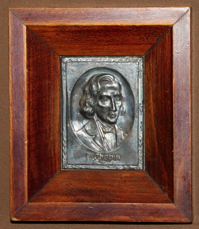 vintage small metal wood wall decor plaque frederic chopin. Black Bedroom Furniture Sets. Home Design Ideas