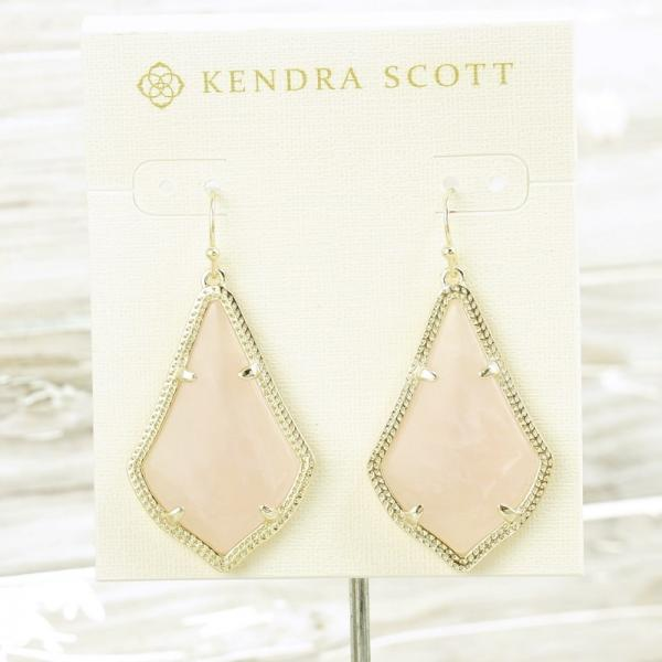4f081ae26d102 Details about NWOT Kendra Scott Alex Drop earring Rose Quartz Pink Gold Tone