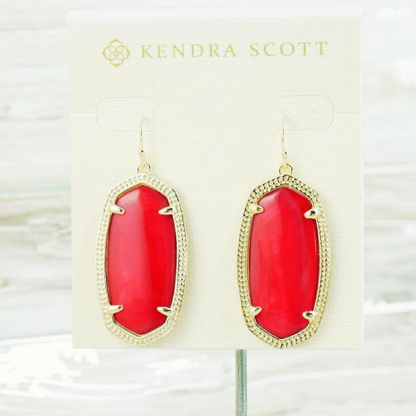 ec920a7ebe10b Details about NWOT Kendra Scott Elle Red Pearl Shell Drop earring Gold Tone
